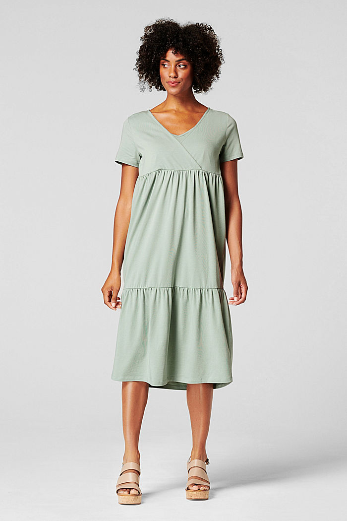 Tiered nursing dress, organic cotton, GREY MOSS, detail image number 1
