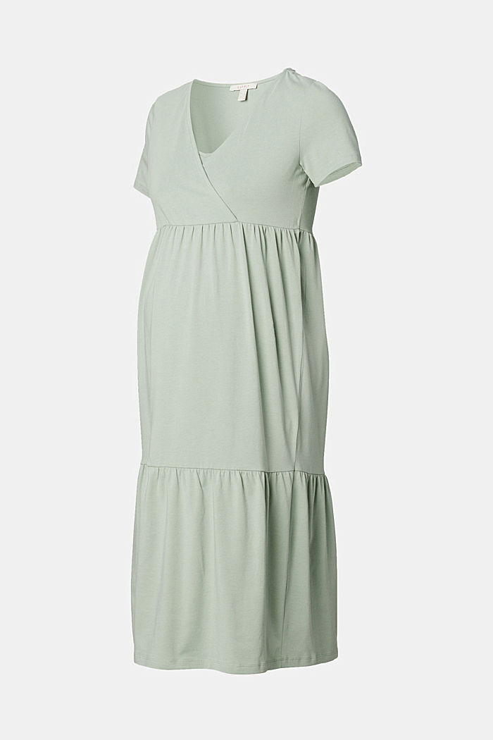 Tiered nursing dress, organic cotton, GREY MOSS, detail image number 6