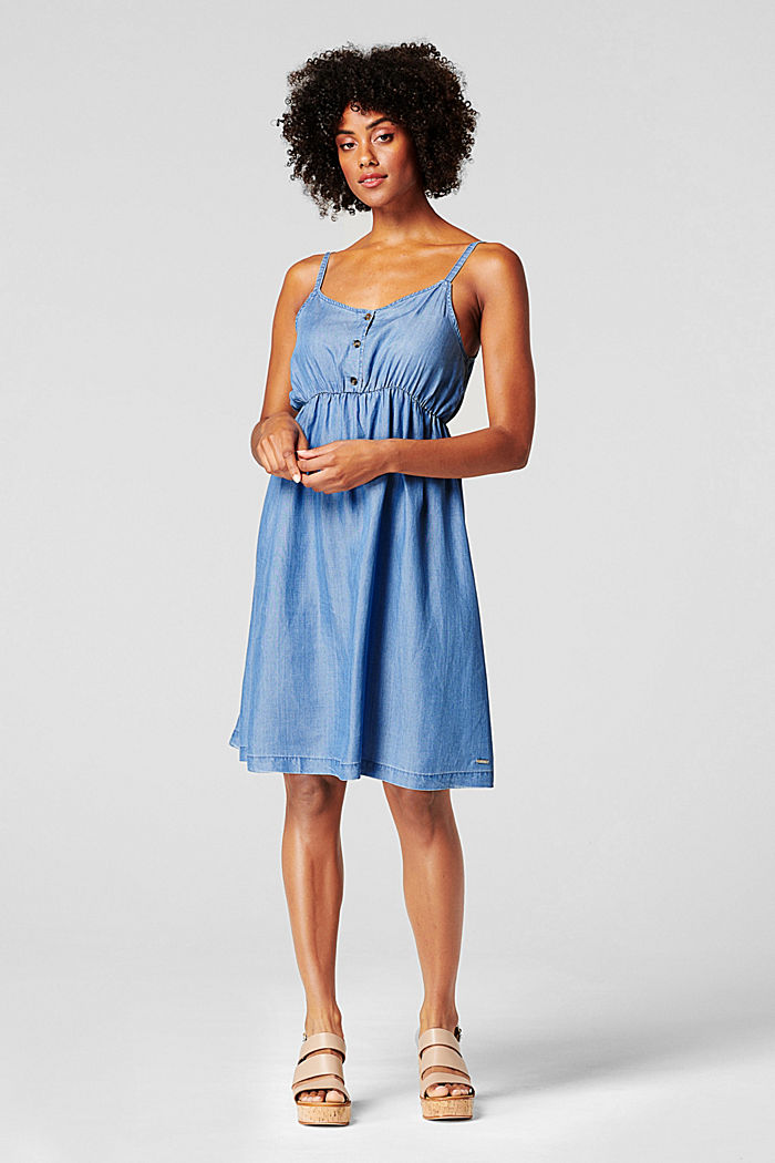 Made of TENCEL™: airy dress in a denim look, BLUE MEDIUM WASHED, detail image number 1