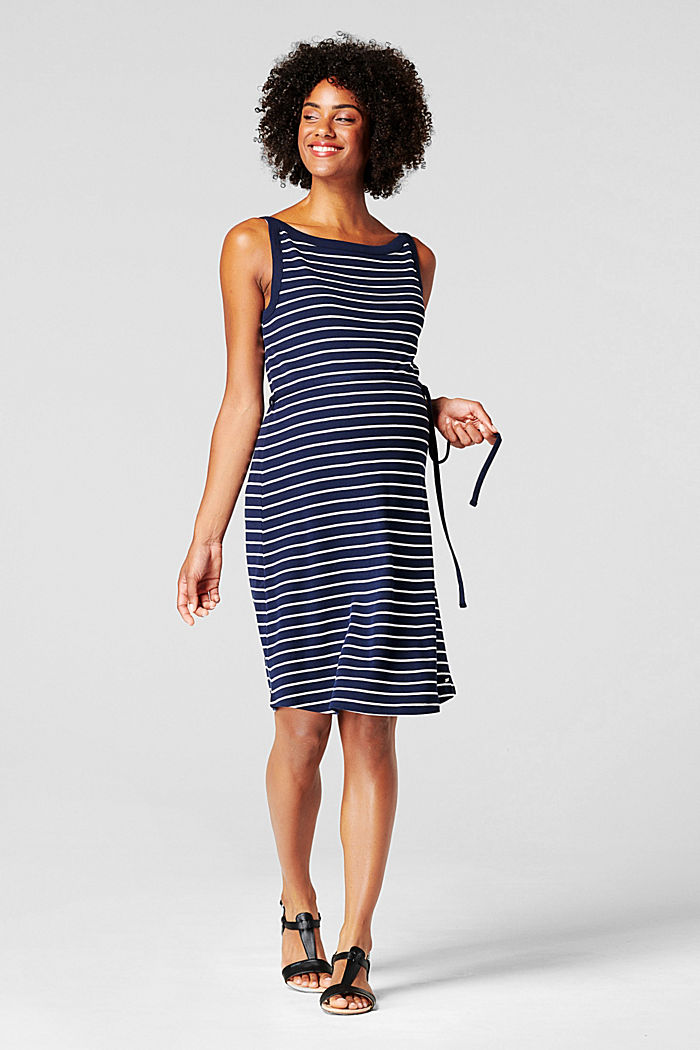 Striped jersey dress, organic cotton, NIGHT SKY BLUE, detail image number 0