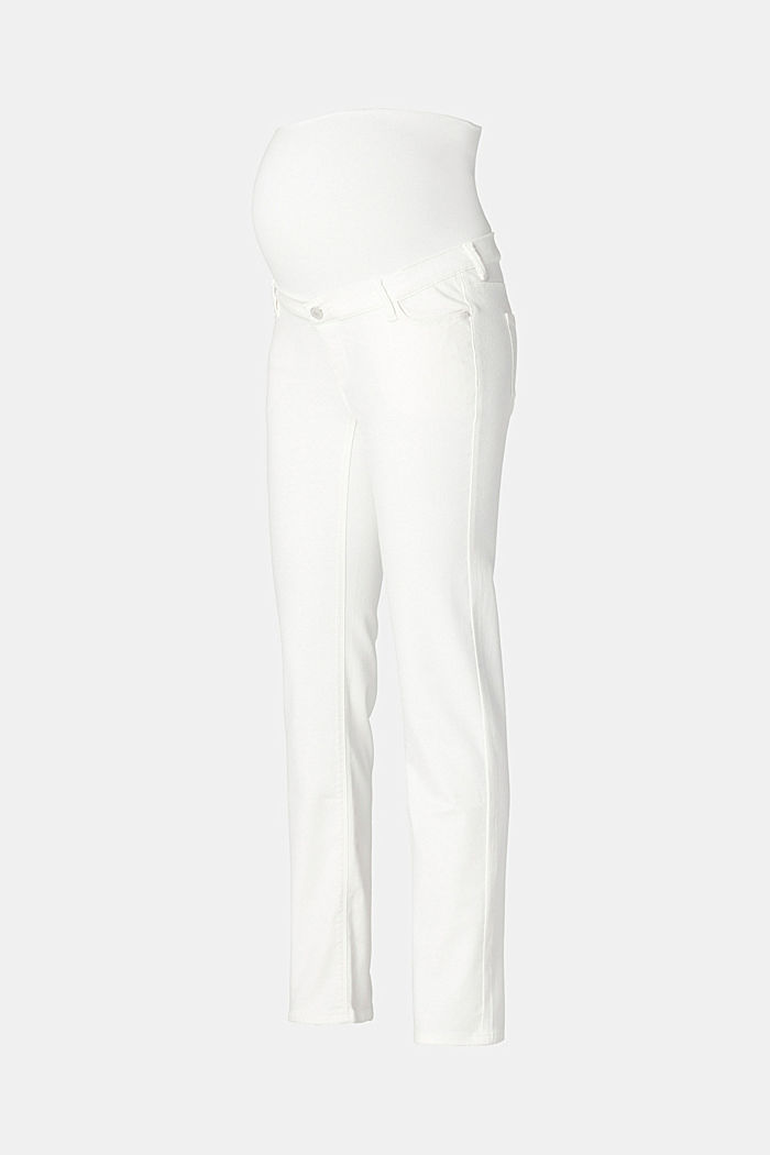Stretch-Jeans mit Überbauchbund, BRIGHT WHITE, detail image number 1