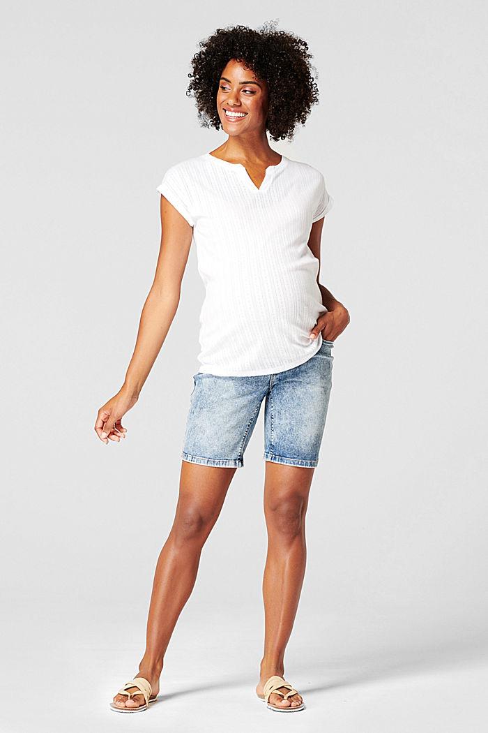 Jeans-Shorts mit Überbauchbund