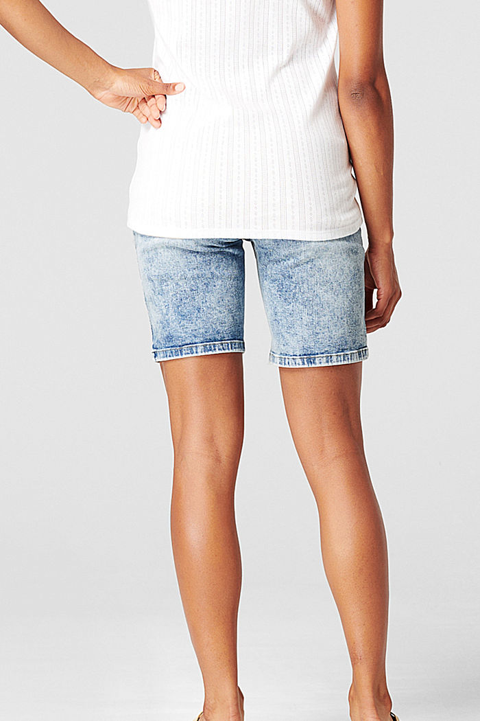 Shorts in denim con fascia premaman, BLUE LIGHT WASHED, detail image number 1