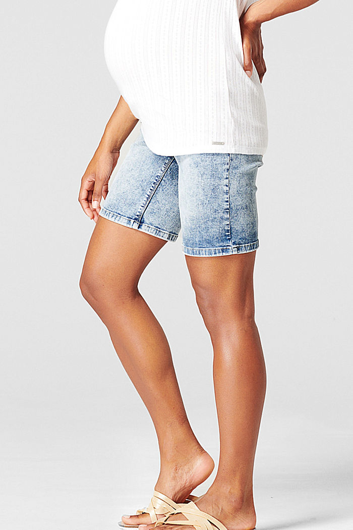 Shorts in denim con fascia premaman, BLUE LIGHT WASHED, detail image number 3