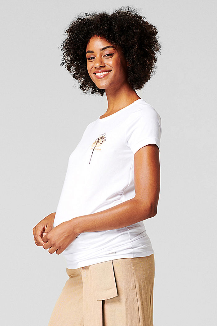 T-shirt with a floral print, organic cotton, BRIGHT WHITE, detail image number 3