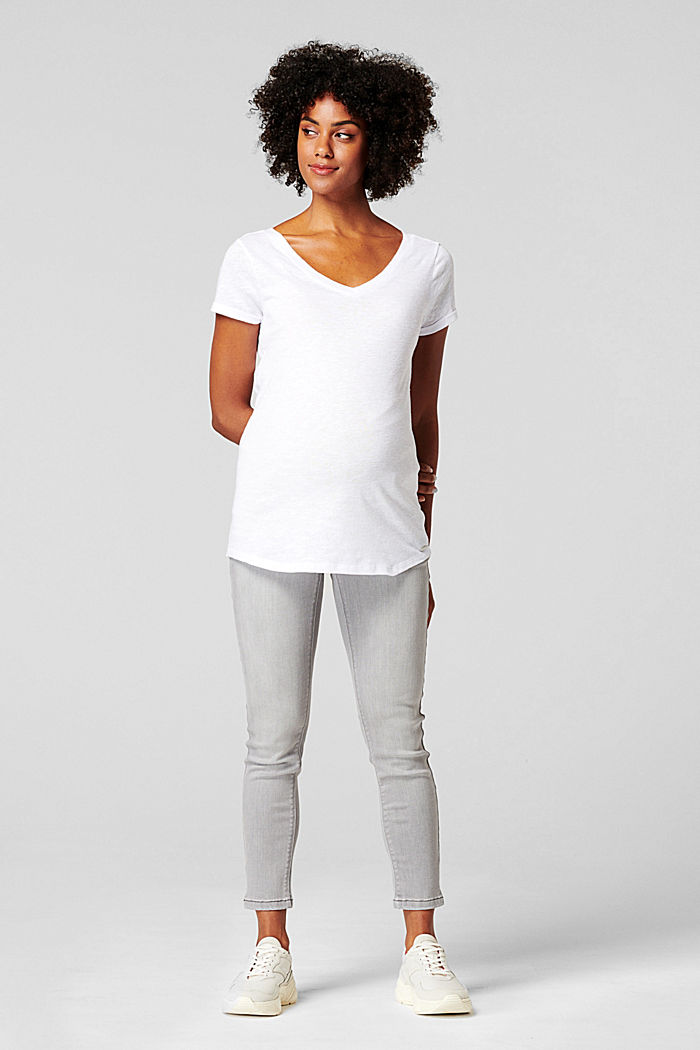 Linen blend: Double V-neck T-shirt
