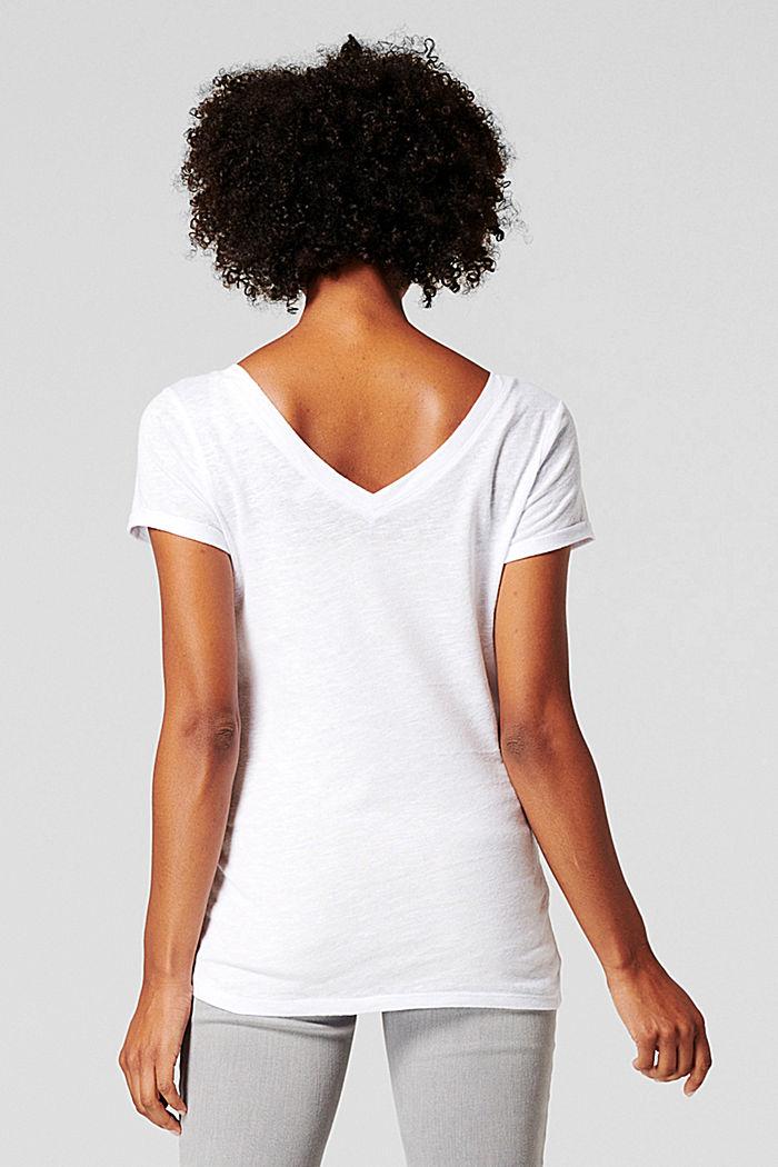 Mit Leinen: T-Shirt mit doppeltem V-Ausschnitt, BRIGHT WHITE, detail image number 1