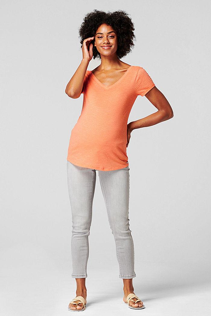 Med hør: T-shirt med dobbelt V-udskæring, BURNT ORANGE, detail image number 0