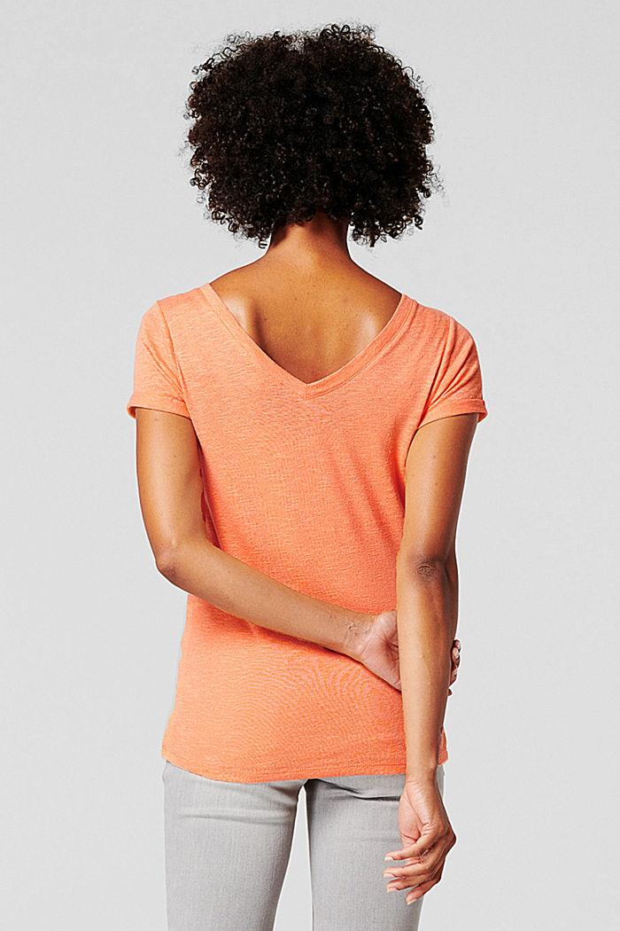 Med hør: T-shirt med dobbelt V-udskæring, BURNT ORANGE, detail image number 1