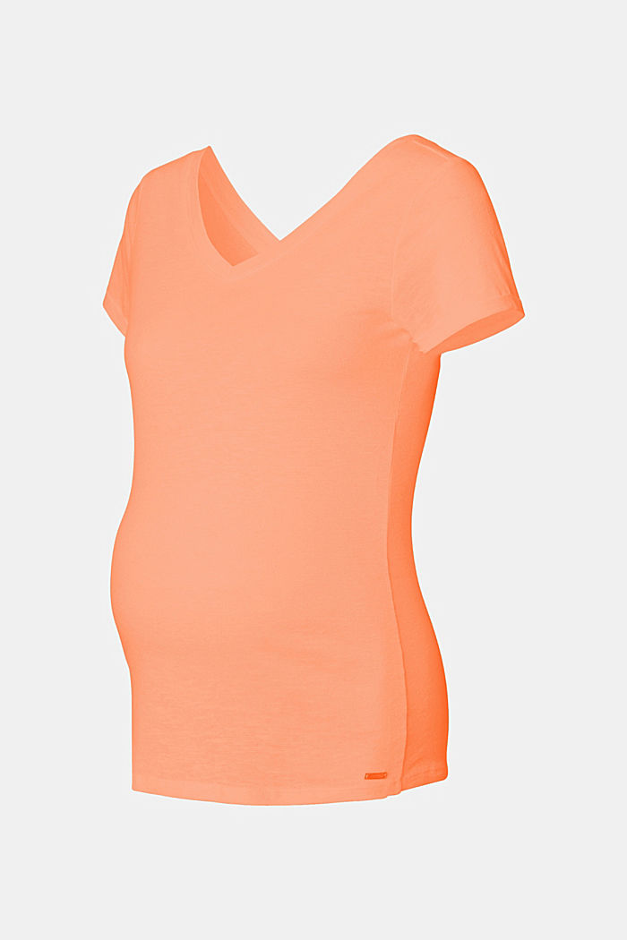 Med hør: T-shirt med dobbelt V-udskæring, BURNT ORANGE, detail image number 4