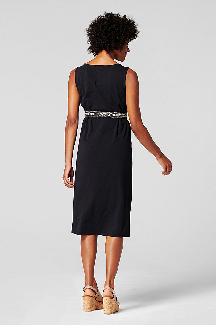 Jersey dress with a tie-around belt, organic cotton, BLACK INK, detail image number 1