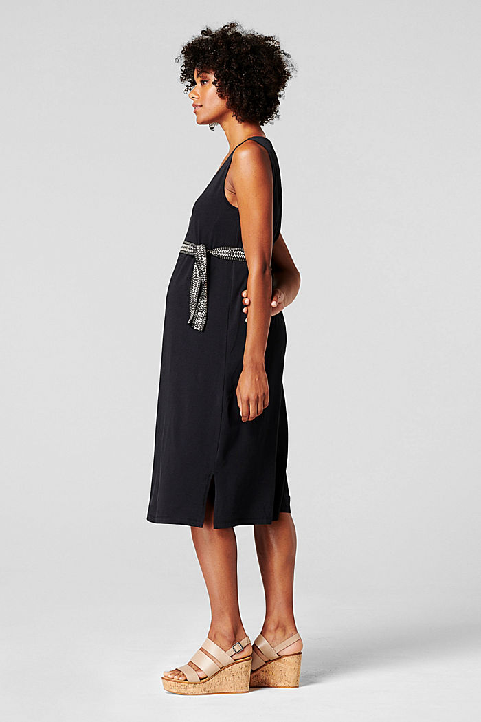 Jersey dress with a tie-around belt, organic cotton, BLACK INK, detail image number 2