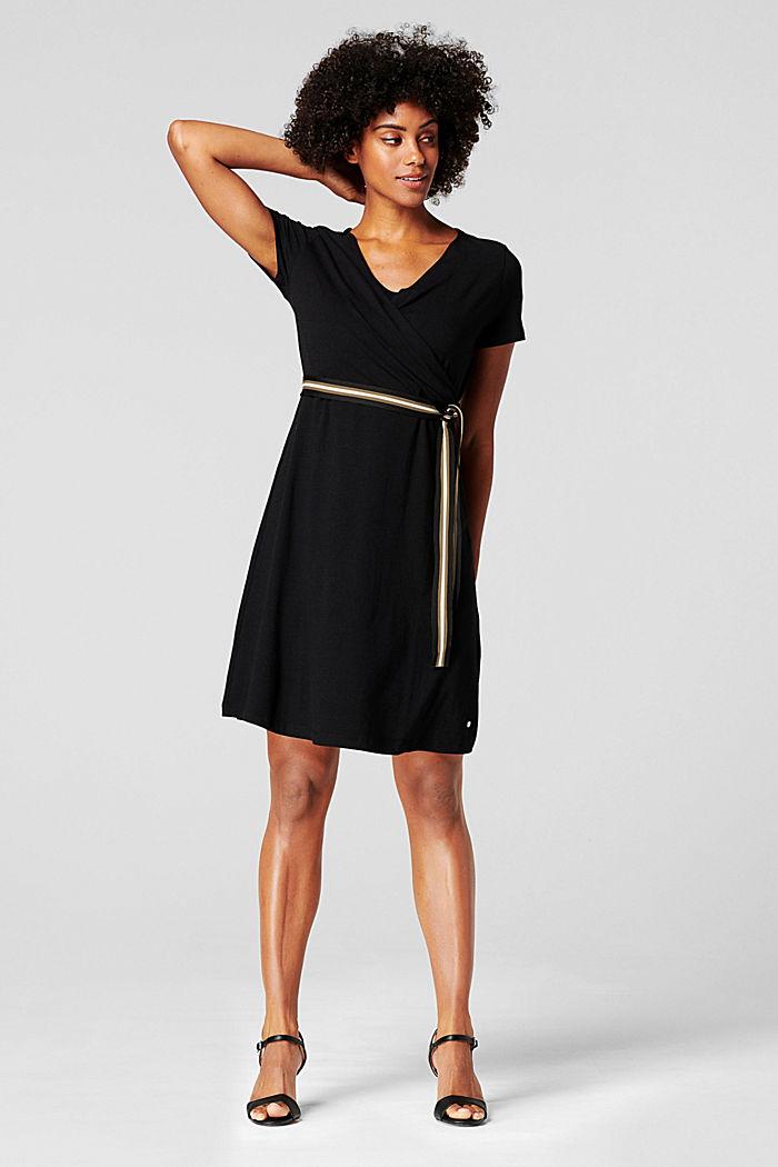Jersey-Kleid mit Stillfunktion und Gürtel, BLACK INK, detail image number 1