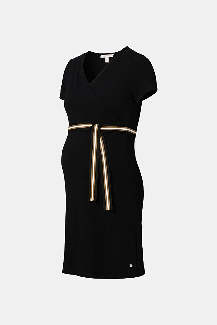 Jersey nursing dress with a belt
