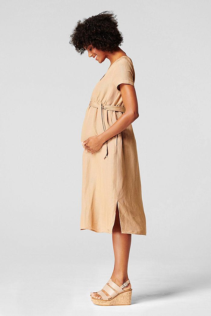 Van een linnenmix: jurk met voedingsfunctie, SAND, detail image number 5