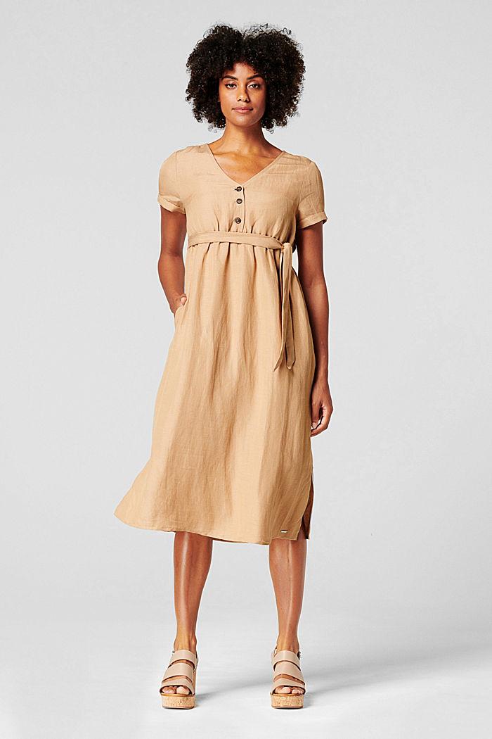 Van een linnenmix: jurk met voedingsfunctie, SAND, detail image number 1