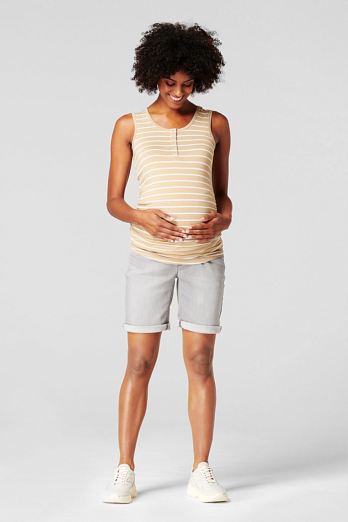 Denim shorts with over-bump waistband