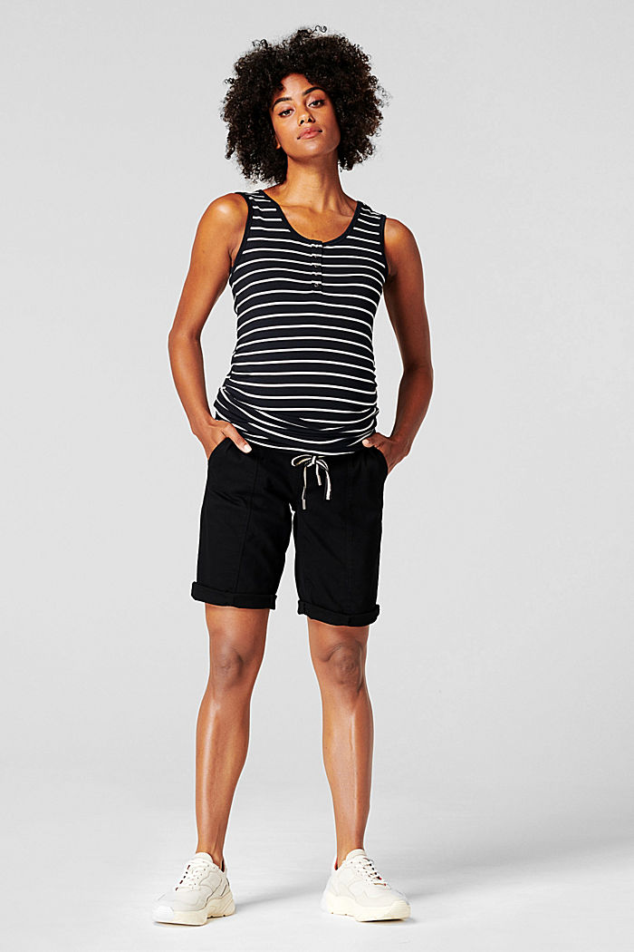 Shorts with an over-bump waistband and a belt, BLACK INK, detail image number 0
