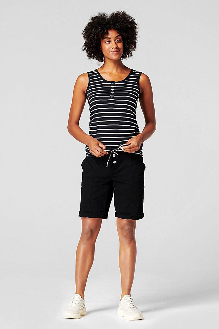 Shorts with an over-bump waistband and a belt, BLACK INK, detail image number 1