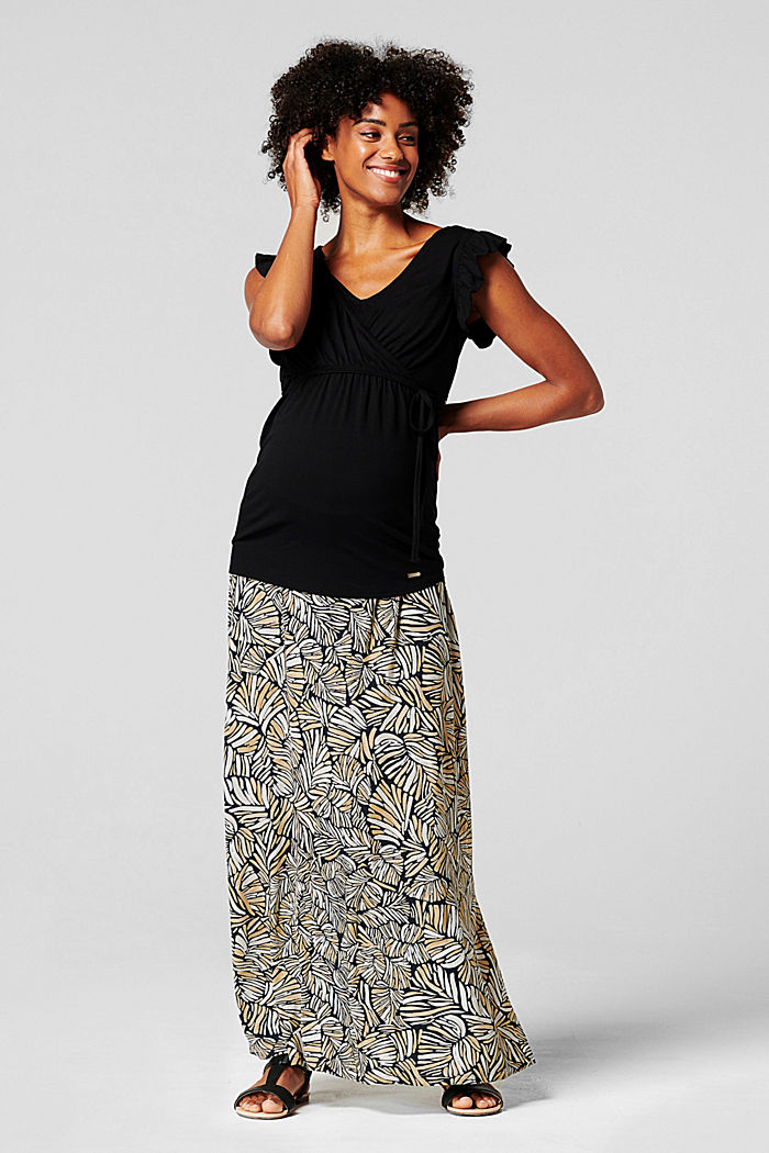 Maxi skirt with under-bump waistband, LENZING™ ECOVERO™, BLACK INK, detail image number 0