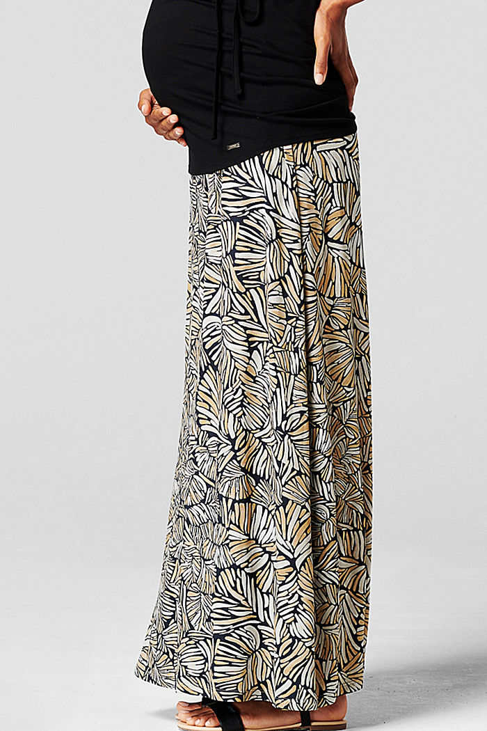 Maxi skirt with under-bump waistband, LENZING™ ECOVERO™, BLACK INK, detail image number 4
