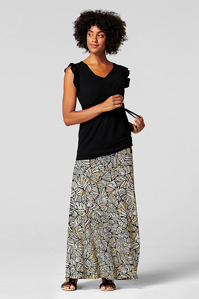 Maxi skirt with under-bump waistband, LENZING™ ECOVERO™, BLACK INK, detail image number 1