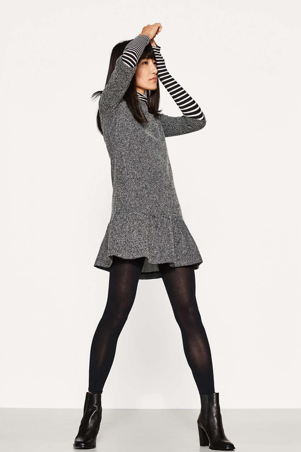 opaque cotton blend leggings, BLACK, detail image number 0