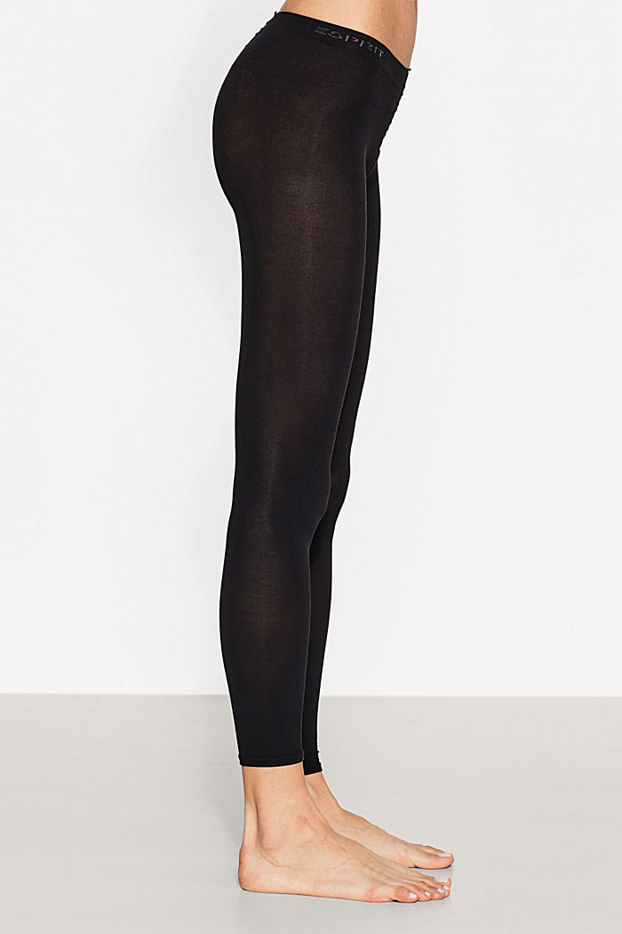 Opaque leggings, blended cotton, BLACK, detail image number 1