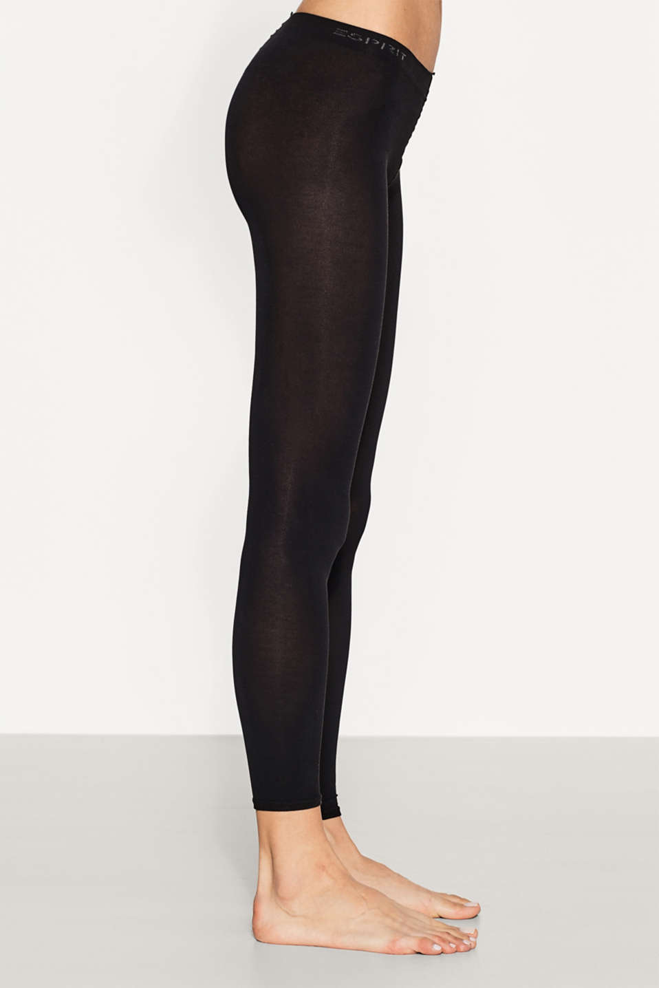opaque cotton blend leggings, BLACK, detail image number 1