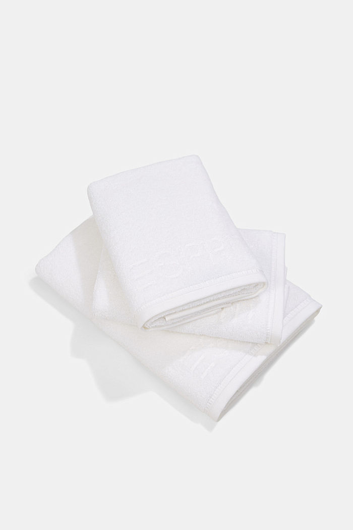 Containing TENCEL™: terry cloth towel set, WHITE, detail image number 0