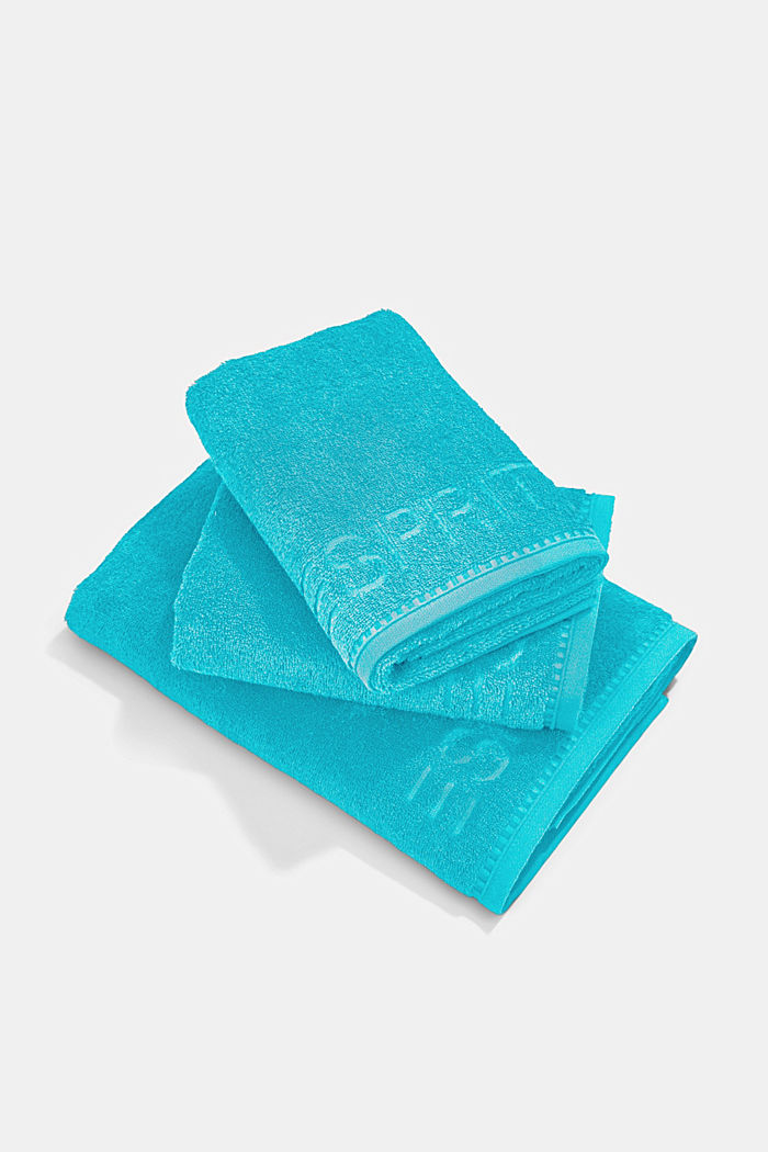 Containing TENCEL™: terry cloth towel set, TURQUOISE, detail image number 0