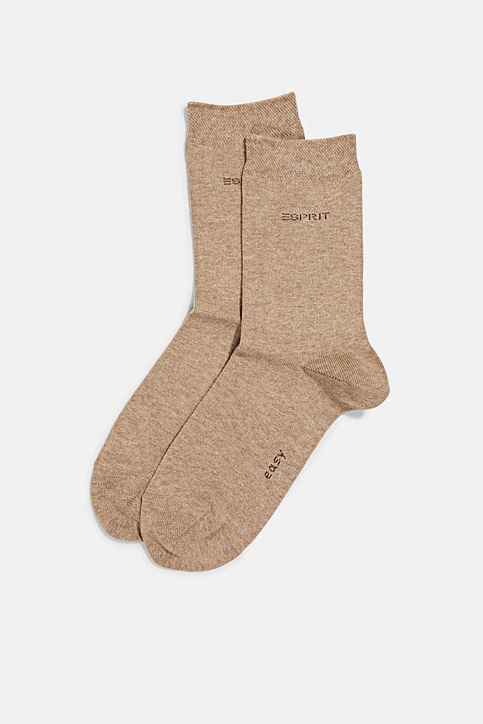 Pack de dos pares de calcetines con remate suave, NUTMEG MELANGE, detail image number 0