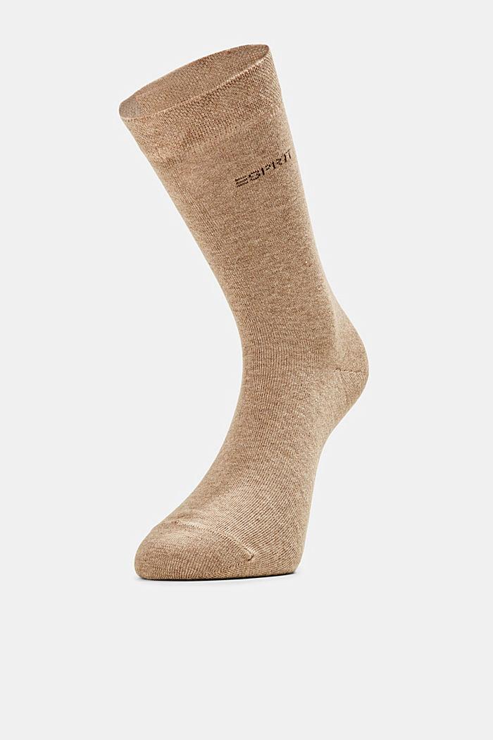 Pack de dos pares de calcetines con remate suave, NUTMEG MELANGE, detail image number 1