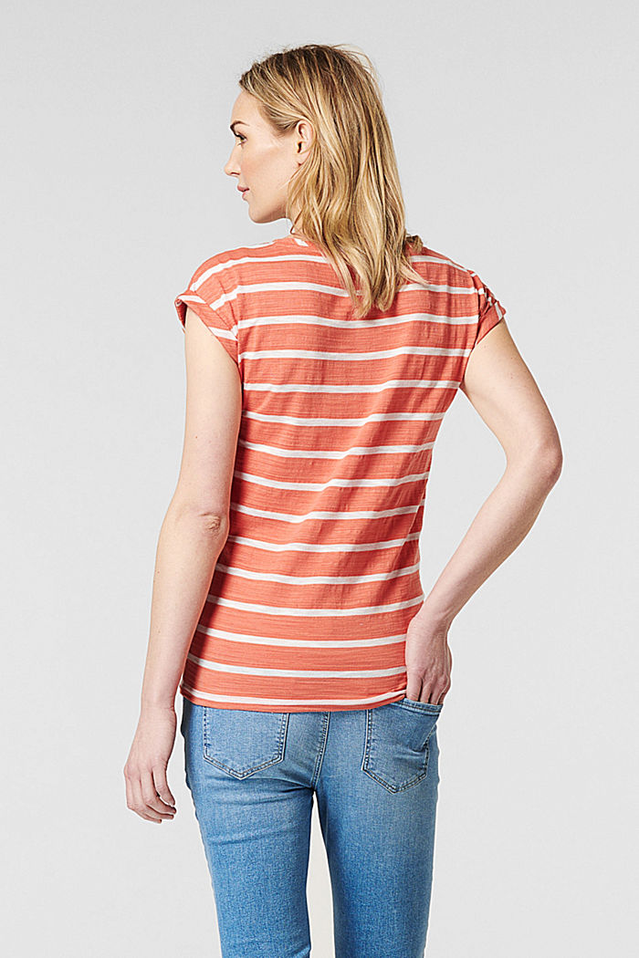 Gestreept T-shirt van 100% katoen, SALMON, detail image number 1