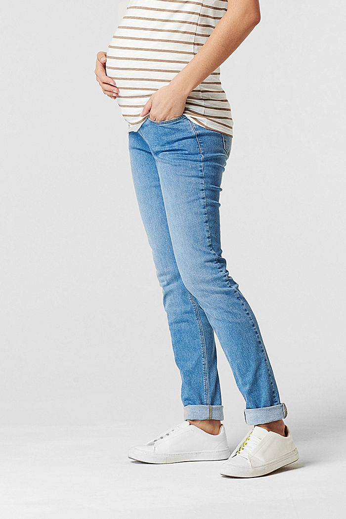 Stretch jeans with an over-bump waistband, MEDIUM WASHED, detail image number 0