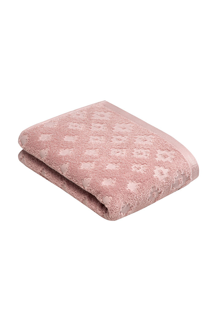 Lot de 2 serviettes en tissu éponge pour invités, 100% coton, ROSE, detail image number 3