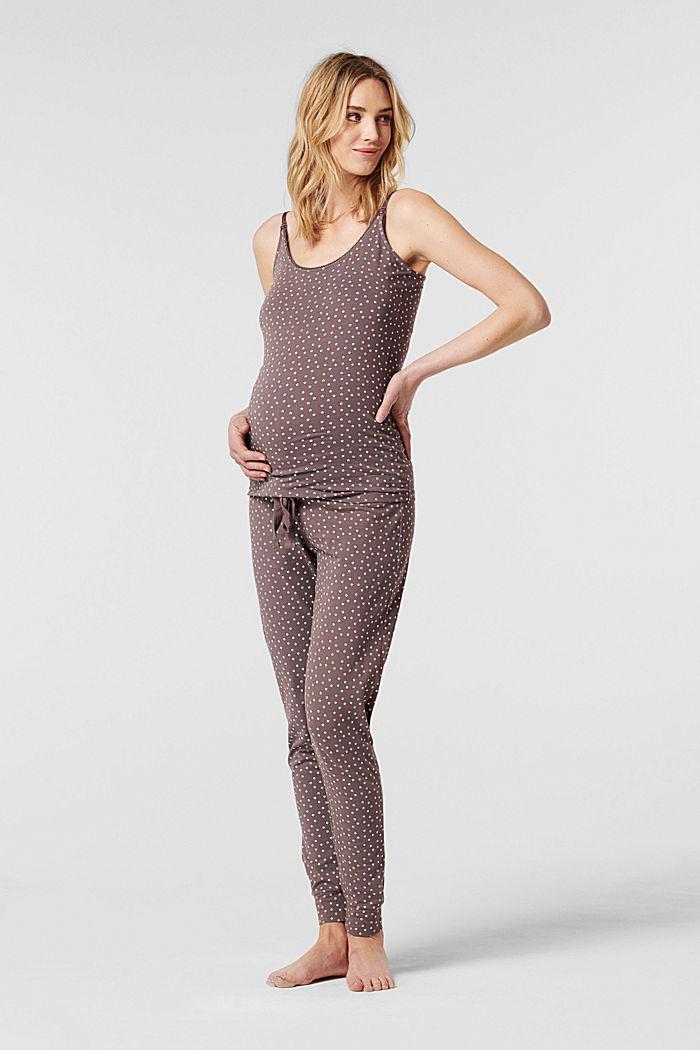 Pyjamatop met voedingsfunctie, biologisch katoen, TAUPE, detail image number 0