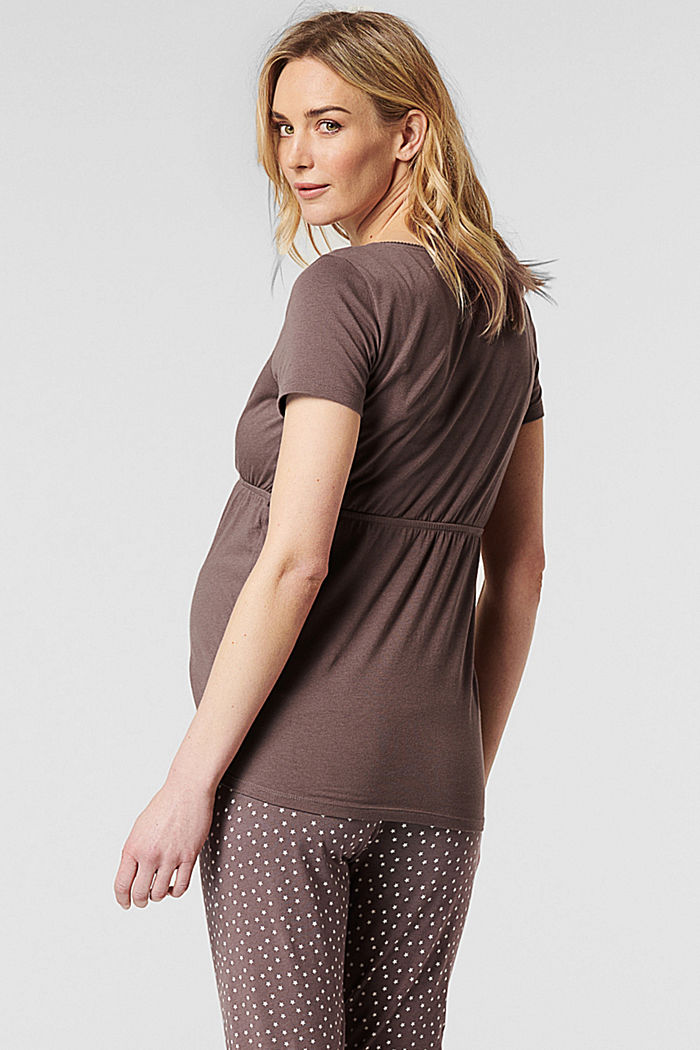 Still-Pyjama-Shirt aus Jersey, Organic Cotton, TAUPE, detail image number 1