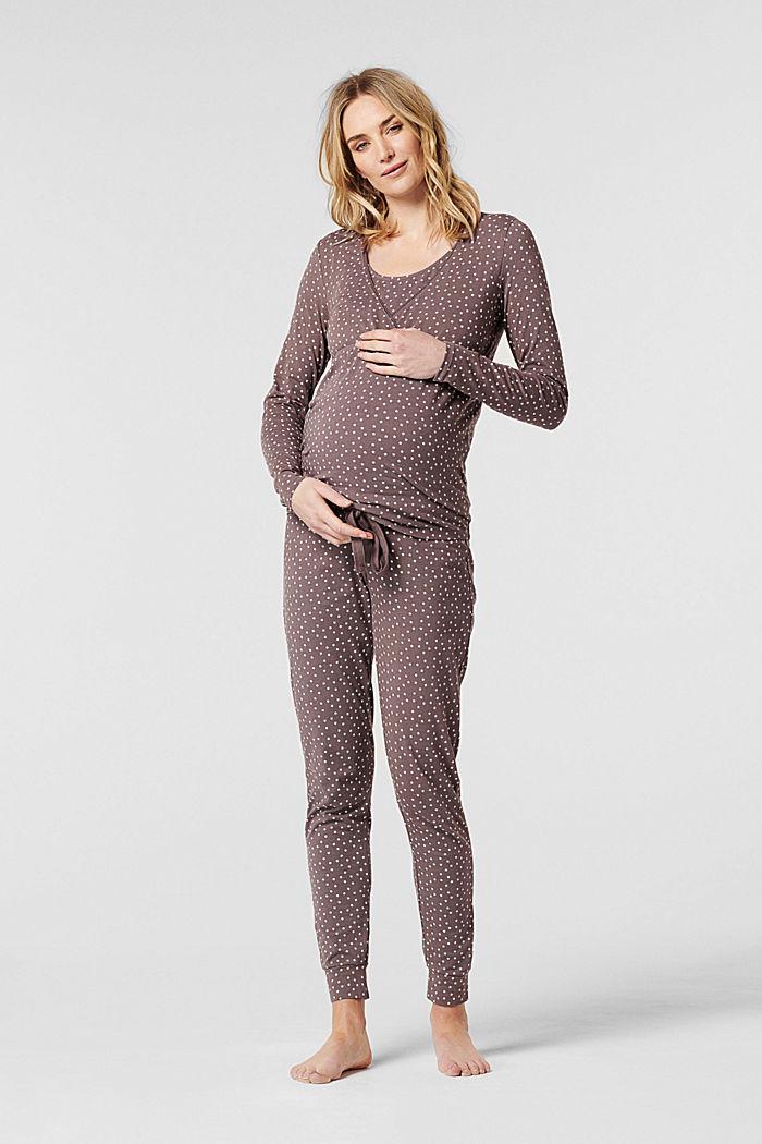 Amningsvänlig pyjamastopp i jersey, ekologisk bomull, TAUPE, detail image number 0