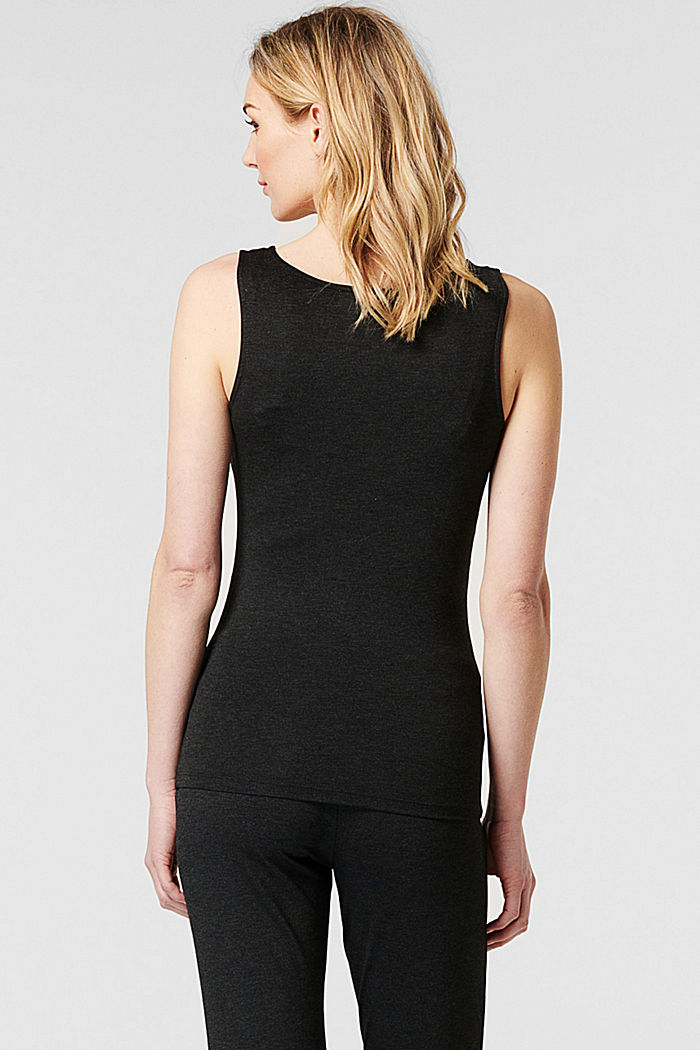LENZING™ ECOVERO™ sleeveless top with a button placket, ANTHRACITE MELANGE, detail image number 2