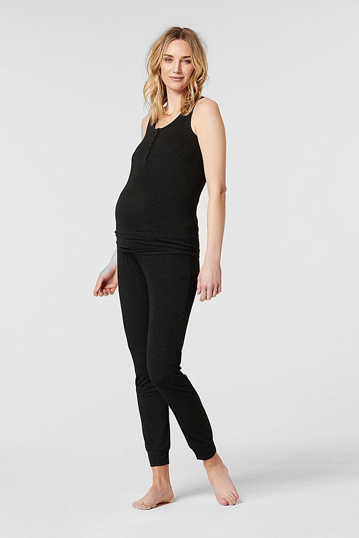 Loungewear trousers with an over-bump waistband