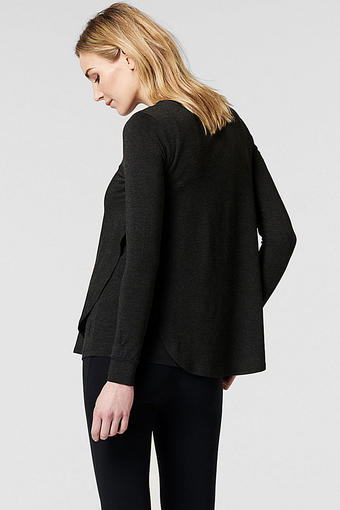 Long sleeve top with open sides, LENZING™ ECOVERO™, ANTHRACITE MELANGE, detail image number 3