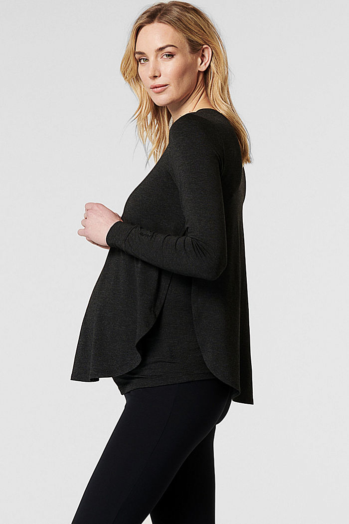 Long sleeve top with open sides, LENZING™ ECOVERO™, ANTHRACITE MELANGE, detail image number 5