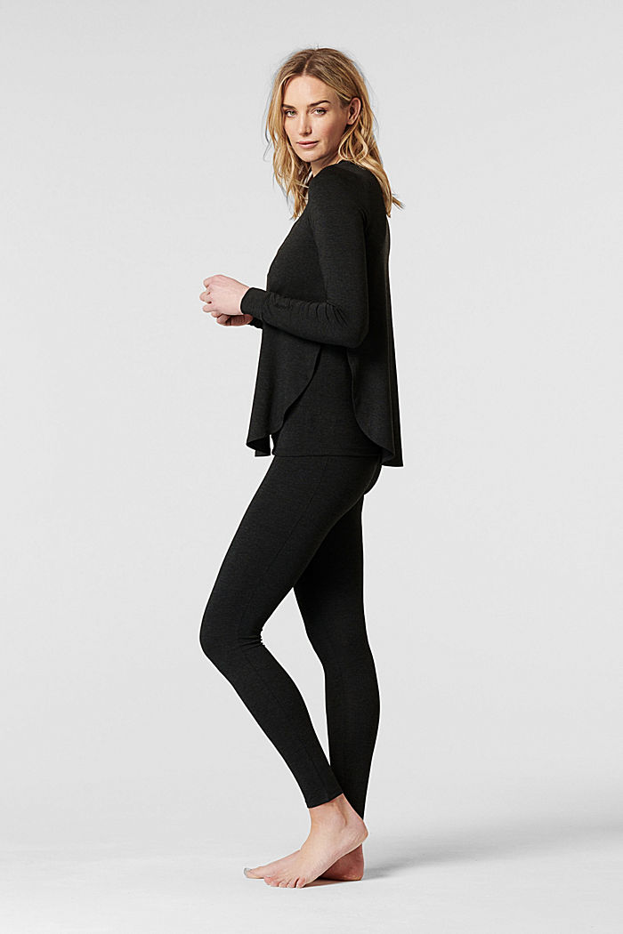 Long sleeve top with open sides, LENZING™ ECOVERO™, ANTHRACITE MELANGE, detail image number 1