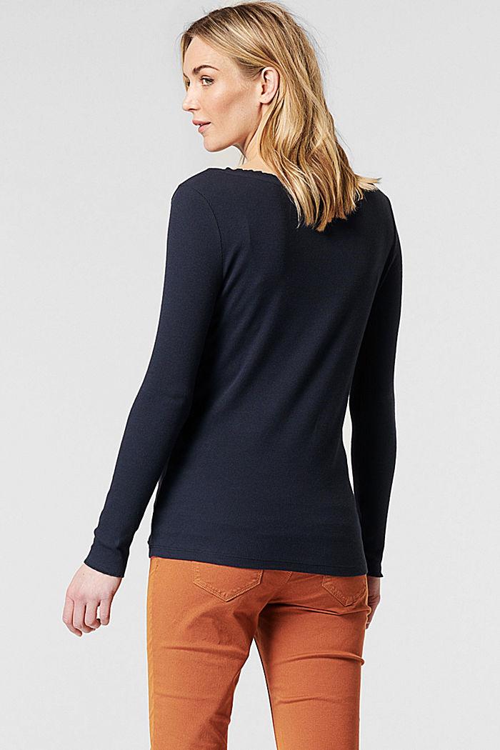 T-shirt côtelé à manches longues, en coton biologique et stretch, NIGHT SKY BLUE, detail image number 1