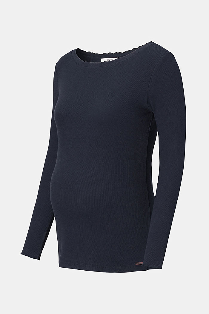 T-shirt côtelé à manches longues, en coton biologique et stretch, NIGHT SKY BLUE, detail image number 4