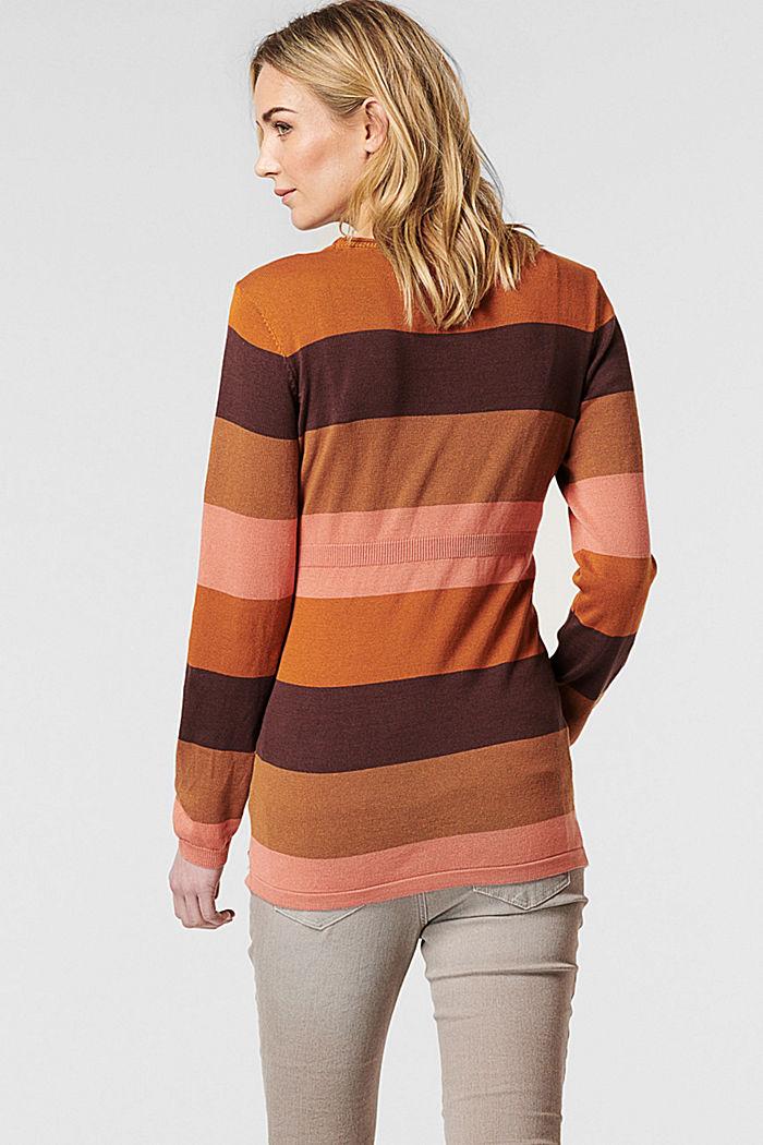 Blockrandig tröja i 100% ekobomull, COFFEE, detail image number 1