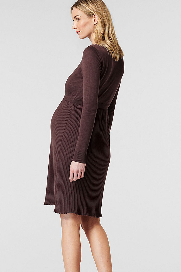 Fine-knit dress made of 100% organic cotton, COFFEE, detail image number 1
