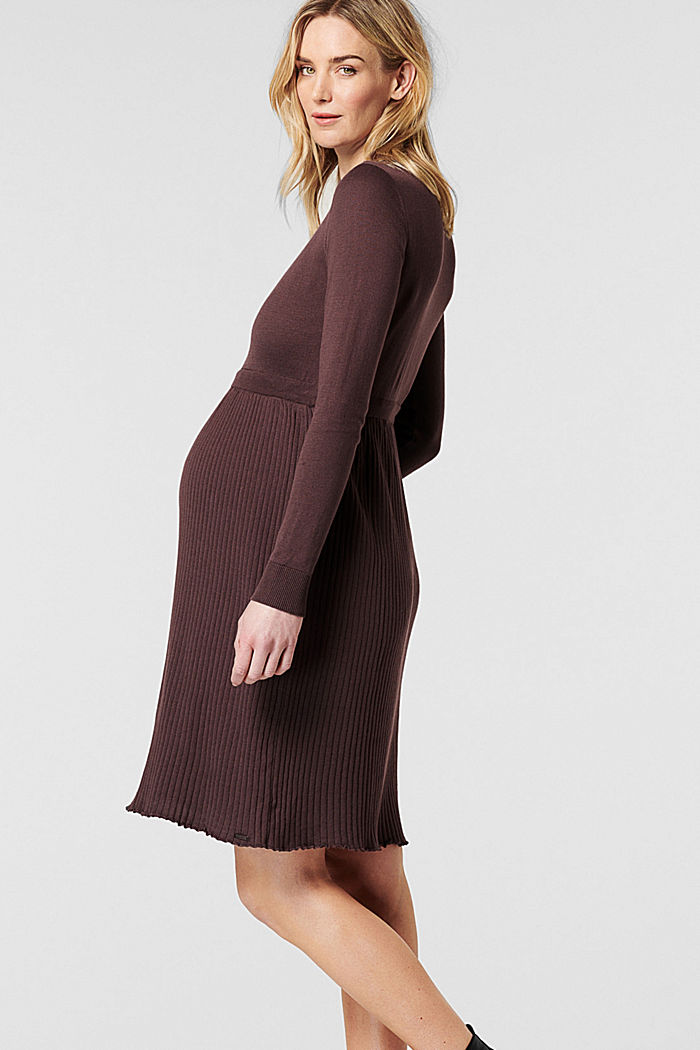Fine-knit dress made of 100% organic cotton, COFFEE, detail image number 2