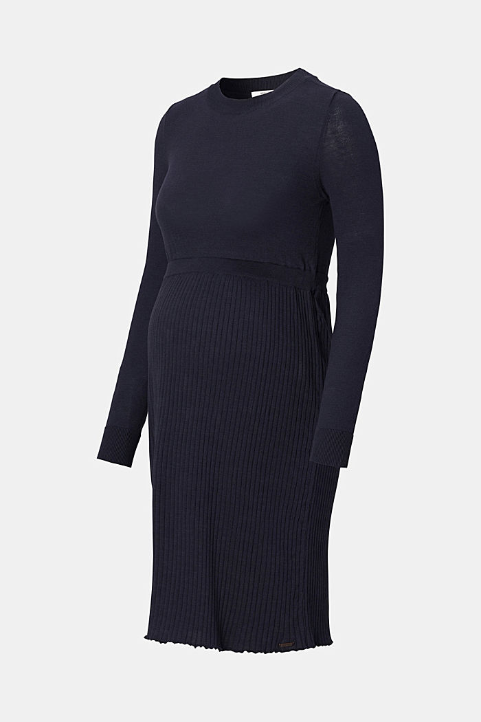 Fine-knit dress made of 100% organic cotton, NIGHT SKY BLUE, detail image number 4